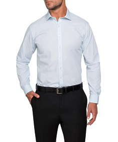 Euro Tailored Fit Shirt Blue with Fine White Stripe