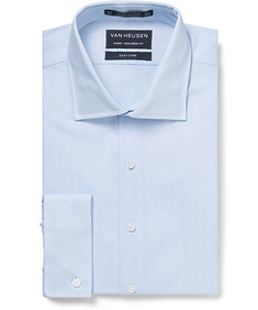 Euro Tailored Fit Shirt Blue Herringbone French Cuff