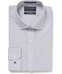 Euro Tailored Fit Shirt Black Vertical Fine Stripe