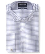 Euro Tailored Fit Shirt White Navy Small Window Check
