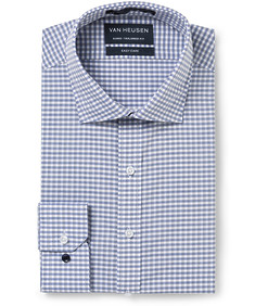 Euro Tailored Fit Shirt Grey Navy Check