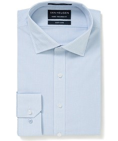Euro Tailored Fit Shirt Blue Micro Check