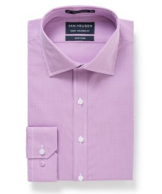 Euro Tailored Fit Shirt Lilac Mini Check
