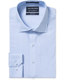Euro Tailored Fit Shirt Blue Dobby Diamond