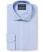 Euro Tailored Fit Shirt Blue Glen Check