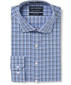 Men's Euro Fit Shirt Blue Black Gingham Check