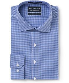 Men's Euro Fit Shirt Blue Small Check