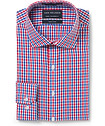 Euro Tailored Fit Shirt Red Blue Gingham Check