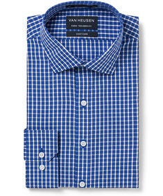 Euro Tailored Fit Shirt Cobalt Plaid Check