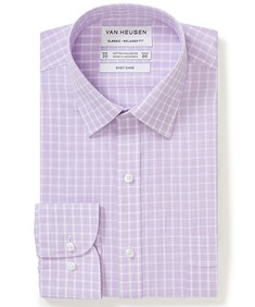 Classic Relaxed Fit Shirt Lilac Hint Check