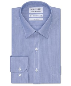 Classic Relaxed Fit Shirt Navy Subtle Vertical Stripe