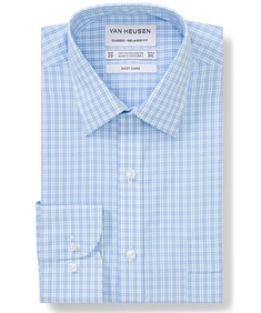 Classic Relaxed Fit Shirt Blue Tonal Glen Checks