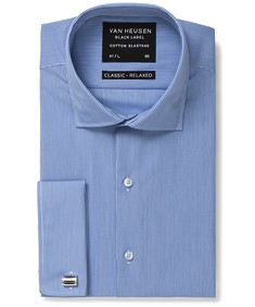 Black Label Classic Relaxed Fit Shirt Blue Vertical Stripe