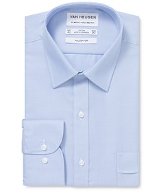 Classic Relaxed Fit Shirt Blue Dobby Self Stripe