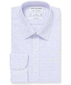 Classic Relaxed Fit Shirt Lilac Gingham with Print
