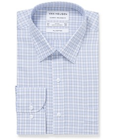 Classic Relaxed Fit Shirt Blue Tan Window Check