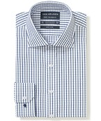 Euro Tailored Fit Shirt Blue Tone Bold Check