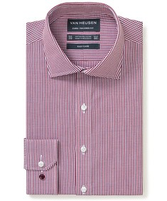 Euro Tailored Fit Shirt Red Shade Gingham