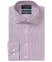 Euro Tailored Fit Shirt Burgundy Contrast Check