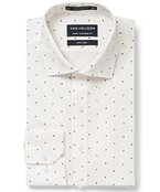 Euro Tailored Fit Shirt White with Mini Plants