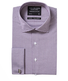 Black Label Euro Tailored Fit Shirt Black Purple Check