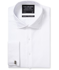 Black Label Euro Tailored Fit Shirt White Cotton