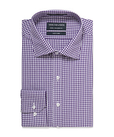 Euro Tailored Shirt Purple Small Gingham Check