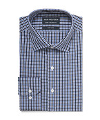 Euro Tailored Shirt Black and Blue Glen Check