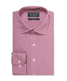 Euro Tailored Shirt Red Dobby Dot