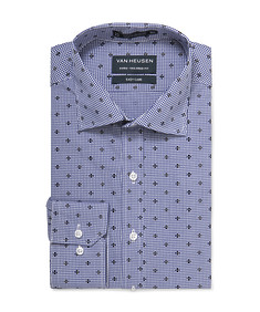 Euro Tailored Shirt Navy Emblem Print