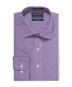 Euro Tailored Shirt Pink and Ink Mini Check