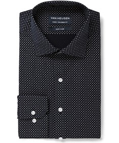 Euro Tailored Fit Shirt Navy with White Dotted Print