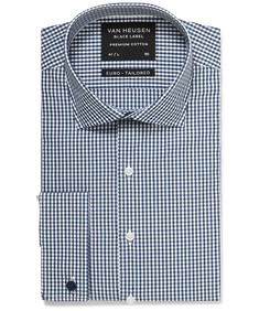 Black Label Euro Tailored Fit Shirt Navy Gingham