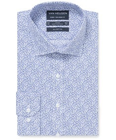 Euro Tailored Fit Shirt Blue Floral Print