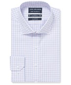 Euro Tailored Fit Shirt Dusty Pink Blue Check