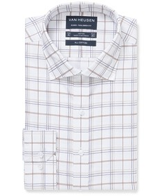 Euro Tailored Fit Shirt Brown Plaid Check