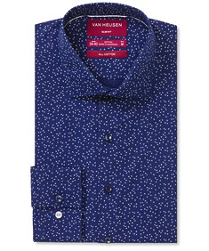 Slim Fit Shirt Navy Cross Print