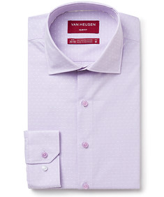 Slim Fit Shirt Purple with White Stripe and Dot