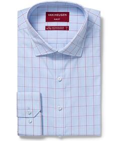 Men's Slim Fit Shirt Blue Red Glen Check