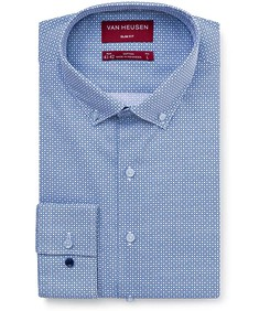 Men's Slim Fit Shirt Navy Geometric Print