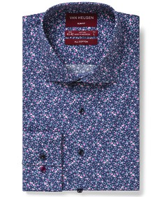 Slim Fit Shirt Navy Pink Florals