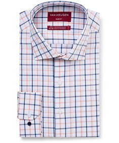 Men's Slim Fit Shirt Tangerine Indigo Check