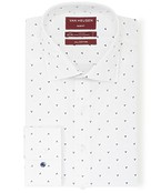 Slim Fit Shirt White with Navy Emblem Print