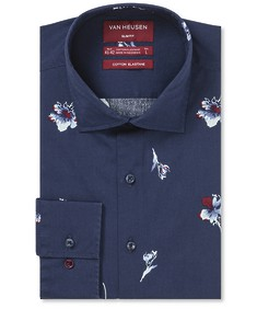 Slim Fit Shirt Indigo Base Red Floral
