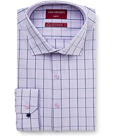 Men's Slim Fit Shirt Mauve Indigo Window Check