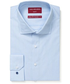 Slim Fit Shirt Blue with Fine White Stripe