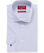 Slim Fit Shirt Navy and White Window Check