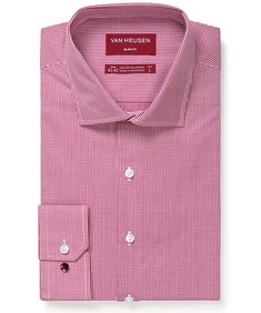 Slim Fit Shirt Red Micro Check