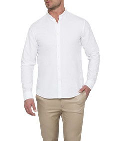 Men's Athletic Fit Casual Shirt White Oxford