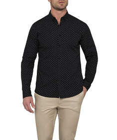 Men's Athletic Fit Casual Shirt Black Dot